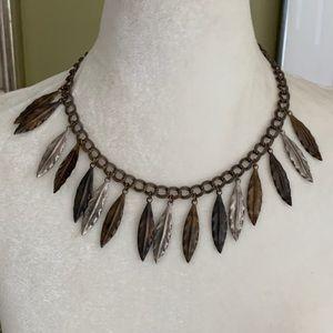 Vintage BOHO Multi Metal Dangle Leaves Necklace